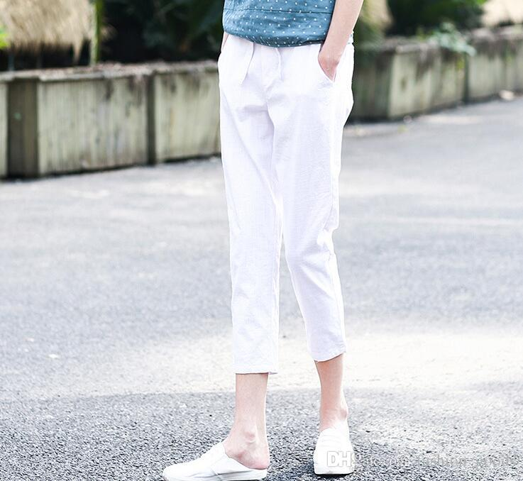 Summer imitation cotton and linen nine points loose Harlan big code tight waist waist casual pants PW003 Women's Pants & Capris