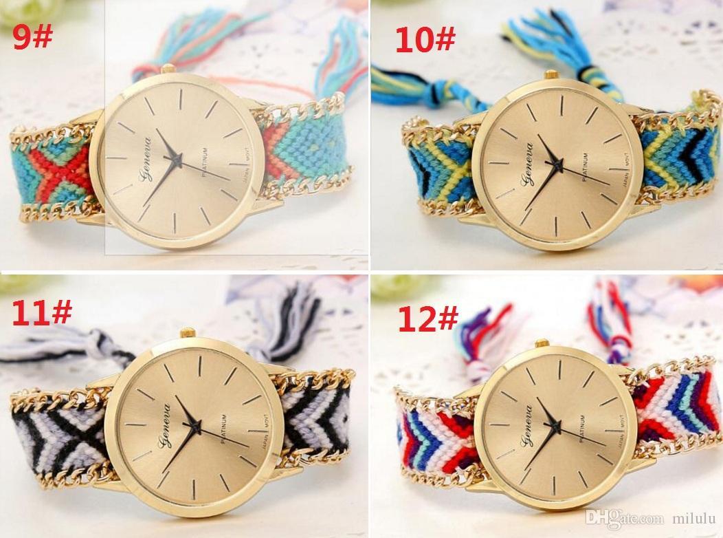 13 colores Geneva Ladies Women Weave Dress reloj trenzado hecho a mano tejido a mano moda al por mayor pulsera de cuerda de cuarzo reloj dhl gratis