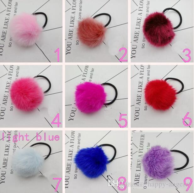 Lady Girl 6 cm en fausse fourrure Fluffy balle pompons scrunchies Pompon élastiques liens cheveux corde cheveux Porte-queue de cheval pour l'accessoire de sac Porte-clés GR102