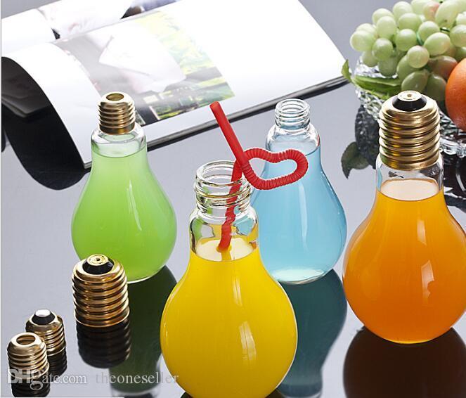 Kreative auffällige Glühbirne Form Tee Fruchtsaft Getränk Flasche Tasse Pflanze Blume Glasvase Home Office Schreibtisch Dekoration