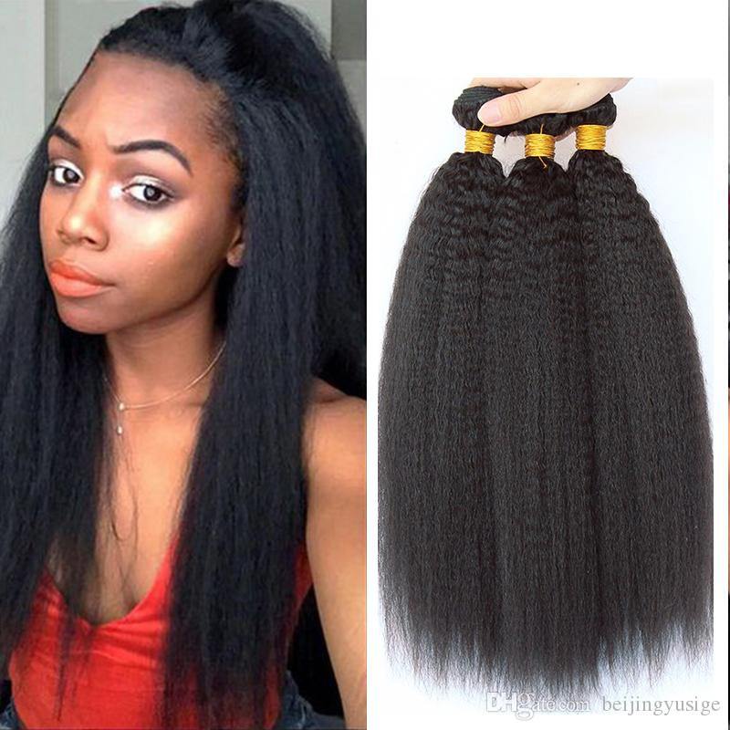 Mongolian Virgin Hair Kinky Straight Human Hair Weave Bundles