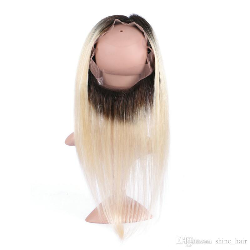 Two Tone 1B/613 Blonde Ombre Malaysian Straight Human Hair With 360 Full Lace Frontal Pre Plucked 360 Lace Band Closure With 3Bundles