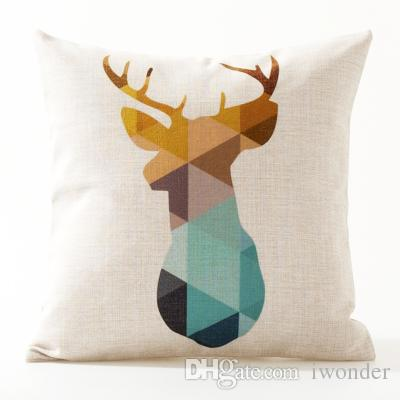 Cuscino stile nordico Geometric Deer Bear Flamingo Copertura del cuscino Lino sottile Federe 30X50cm 45X45 cm Camera da letto Divano Decorazione