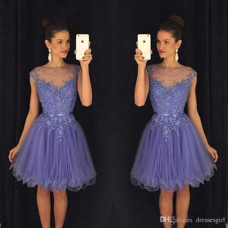 2018 New Autumn Purple Homecoming Dresses Beading Tulle Appliqued ...