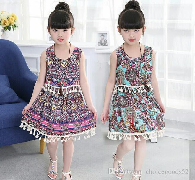 5c78ac28f4c Summer Girl Dress Girl Bohemia Floral Dress Kids Tassels Dress Hot Sale  Kids Clothing 5 P L From Choicegoods521