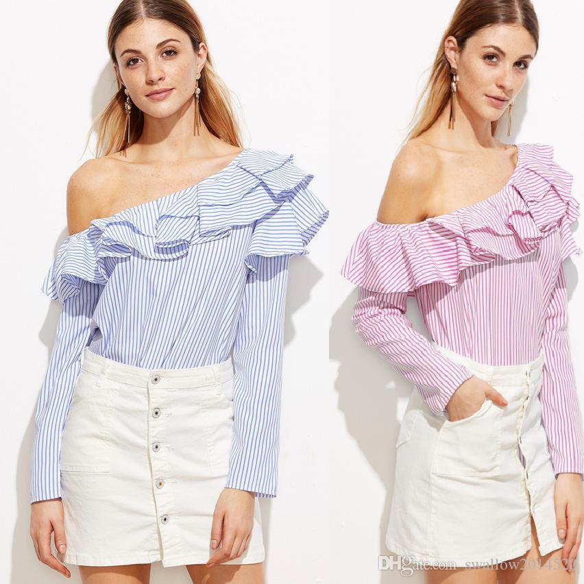 b7af5530acbcca 2019 One Shoulder Ruffle Blouses And Shirts Women Elegant Blue Red Striped  Off Shoulder Tops Female Shirt Long Sleeve Ruffle Top From Swallow2014520