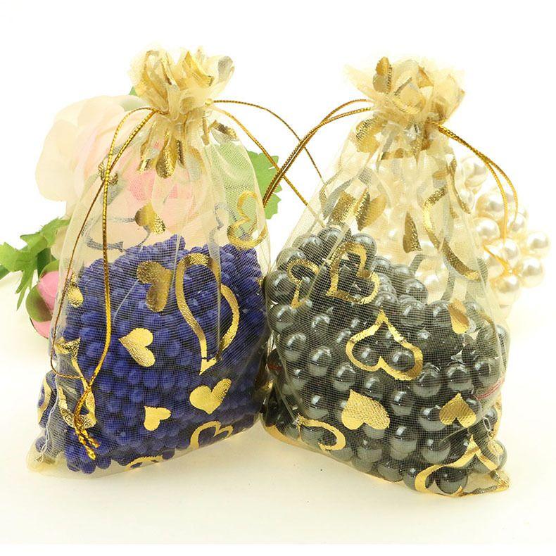 도매 새로운 무료 배송 7x9cm 심장 Drawable Organza 웨딩 선물 BagsPouches 쥬얼리 포장 보석 만들기 결과 만들기