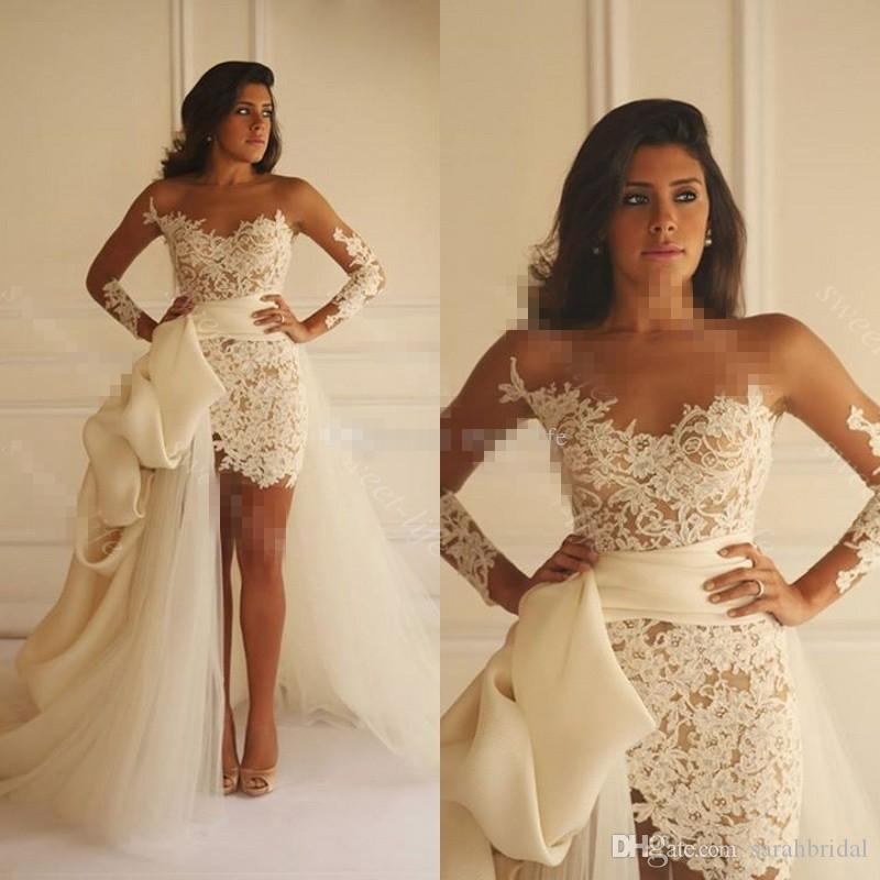 2019 Sexy Sommer Strand Brautkleider Mantel Abnehmbaren Zug Langarm Sheer Neck Applique Spitze Yasmine Yeya Brautkleider Benutzerdefinierte Günstige