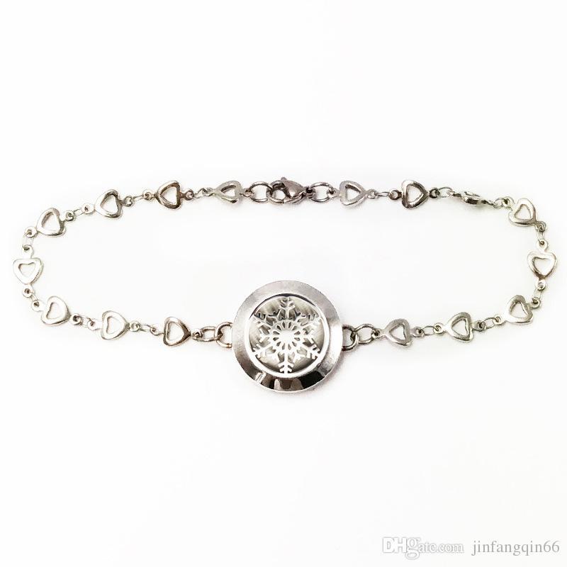 Bracciale locket profumo acciaio inossidabile 316L 25mm 30mm locket bracelet diffuser girasole aromaterapia bracciale con feltro libero catena