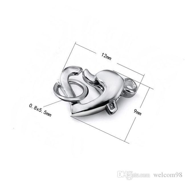 10 unids / lote 925 broche de la garra de langosta del corazón de plata para el regalo de la joyería de la manera del arte del bricolaje envío gratis 7.7X11mm W292