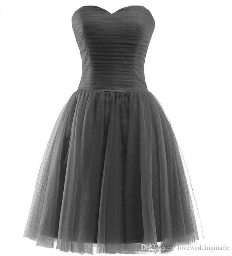 Cheap Short 2017 Bridesmaid Dresses Tulle Sweetheart Pleats Mini Homecoming Party Wear Maid Of Honor Gowns Country Style
