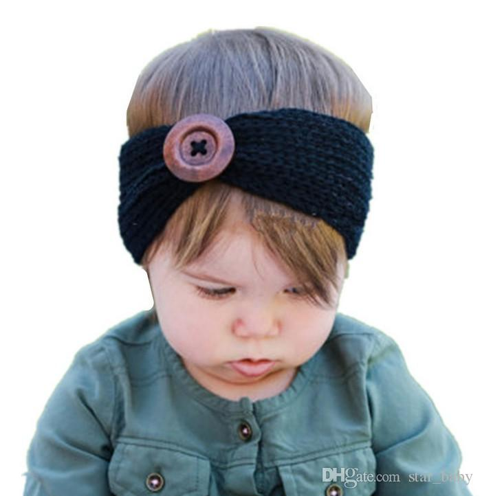 Top Selling Baby Head Band European Style Baby Girls Hairband Wool Head Band With Botton Photo Props Hair Accessories Hair BowQ0490