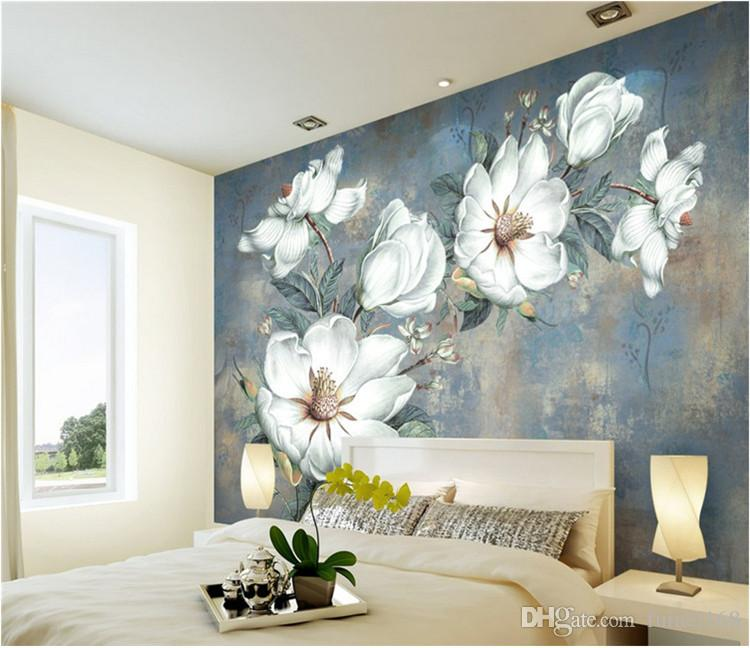 European oil painting living room wallpaper retro TV background wall paper  entrance large wall cloth hand painted floral murals
