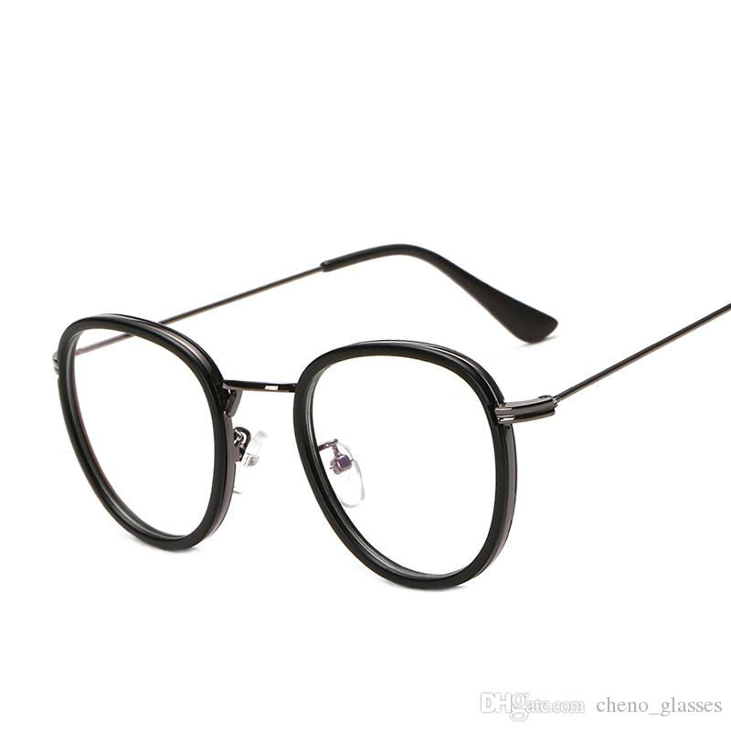 Compre Retro Redondo Marco Óptico Mujeres Hombres Lente Transparente ...