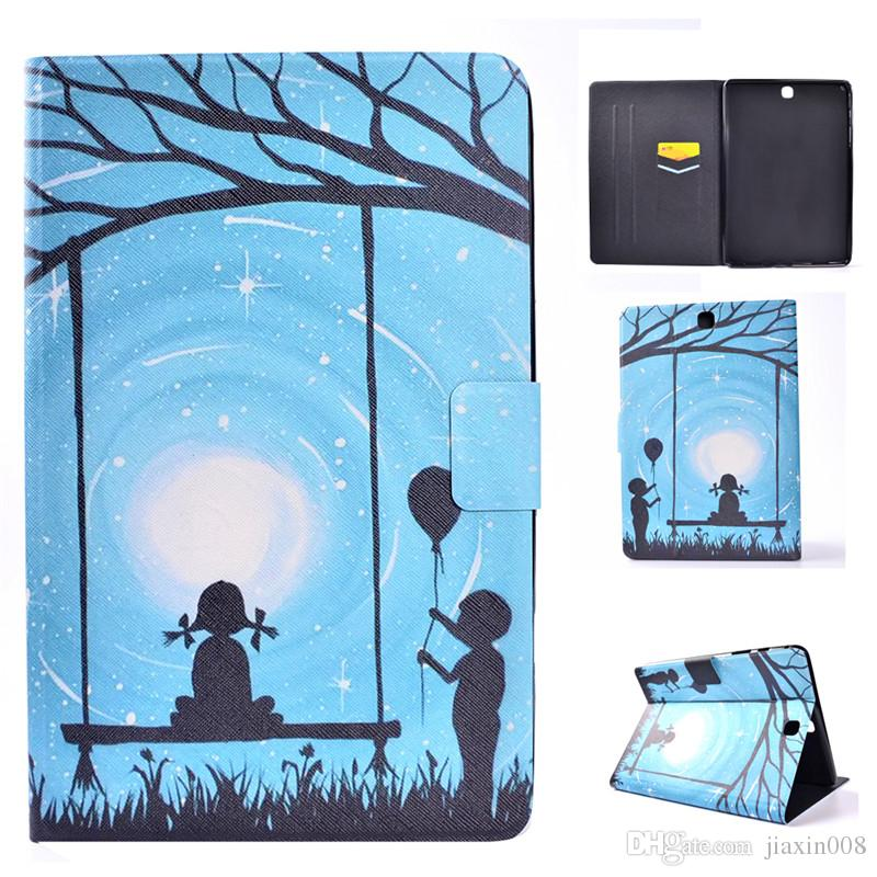 PU Leather Tablet Case For Samsung galaxy Tab A 9.7 inch T550 T555 Cover Filp Stand Tower Dormancy Sleep Wake Function Desgin