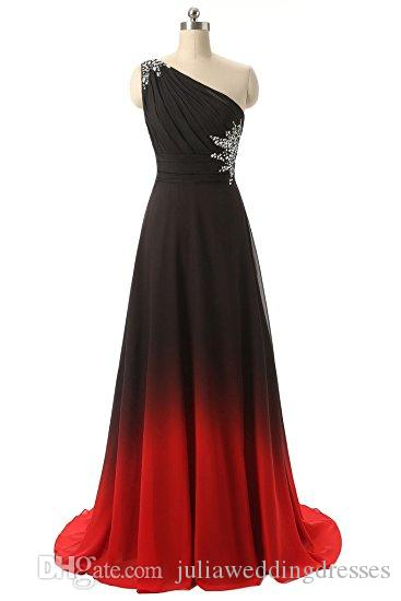 2021 Gradient Chiffon One Shoulder Prom Dresses Beaded Floor-Length Evening Formal Long Special Occasion Party Gown QC438