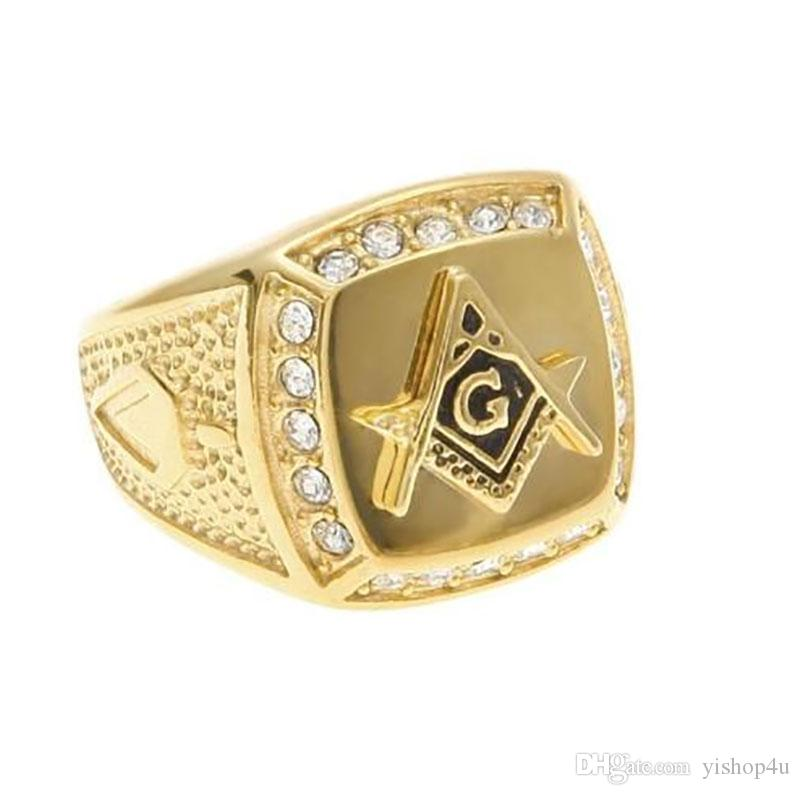 Hip Hop Stainless Steel Ring Carved Gold Plated Freemason Symbol Masonic Rings Bands for Men Women Large Size #8-#11
