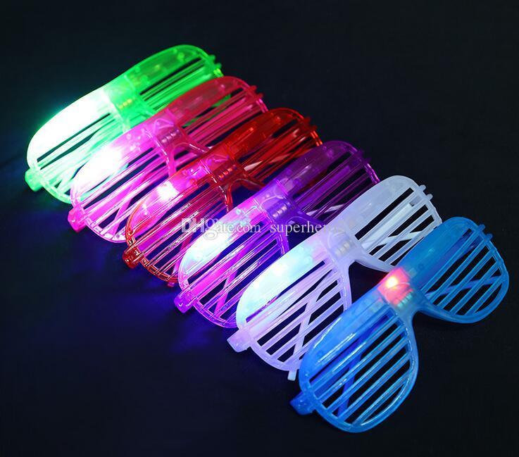 New LED flash Shutter glasses party decorate plastic glasses square pentagram love clover light-emitting toys gifts DHL free
