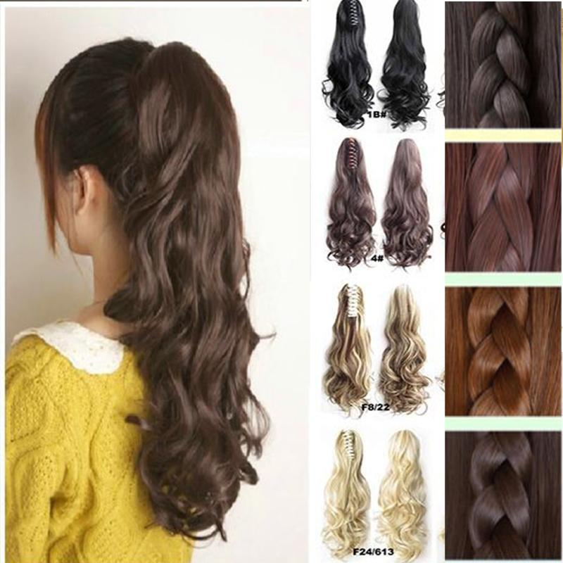 Wholesale New Style Lady Thick Hair Wavy Curly Ponytail Claw On Clip