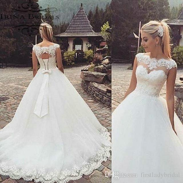 compre 2017 nueva llegada sheer vestidos de novia casquillo de la