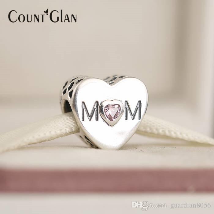Perline cuore madre Fit Pandora Charms bracciali in argento sterling 925 originale rosa cz mamma amore cuore perline fare gioielli fai da te
