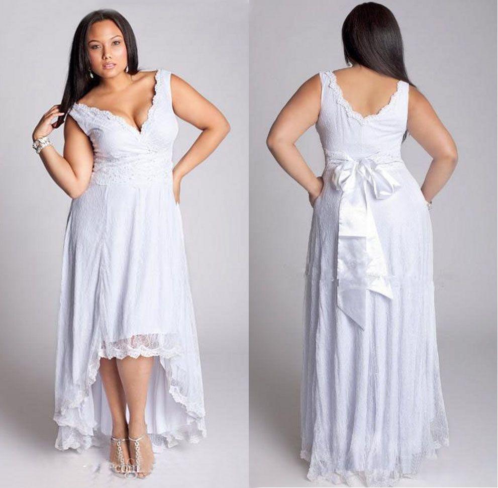 Plus Size High Low Lace Brautkleider Beach Style Applique ärmellose V-Ausschnitt A-Line Short Brautkleider Vestidos De Noiva