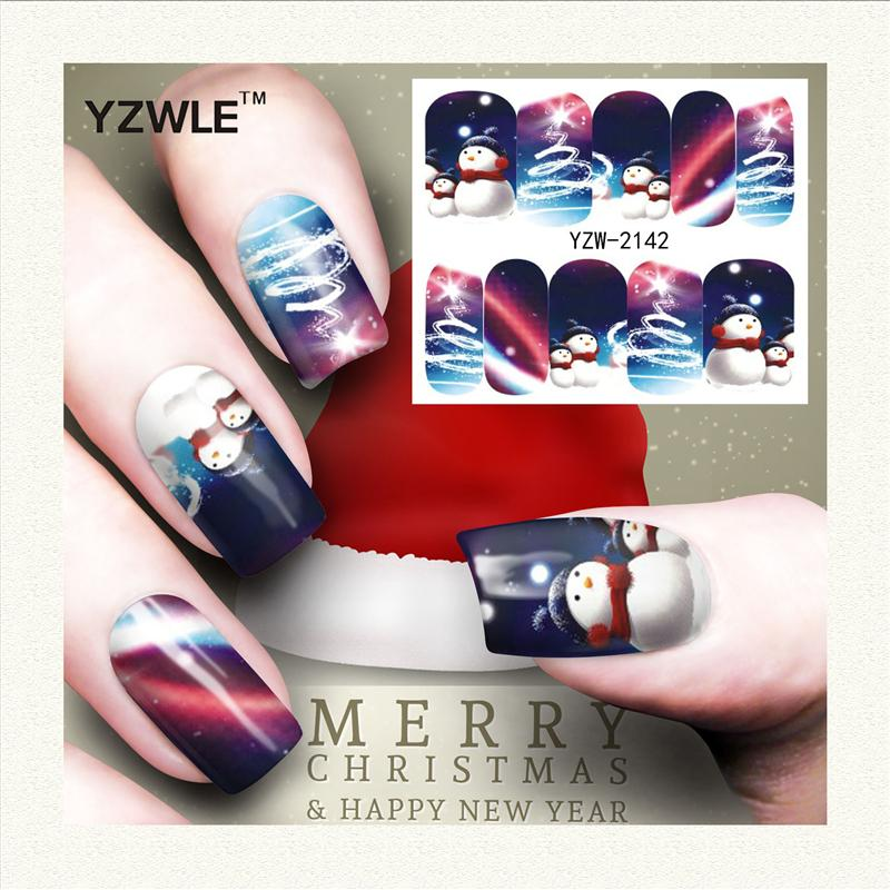 Wholesale Yzwle 1 Sheet Christmas Design Diy Decals Nails Art Water