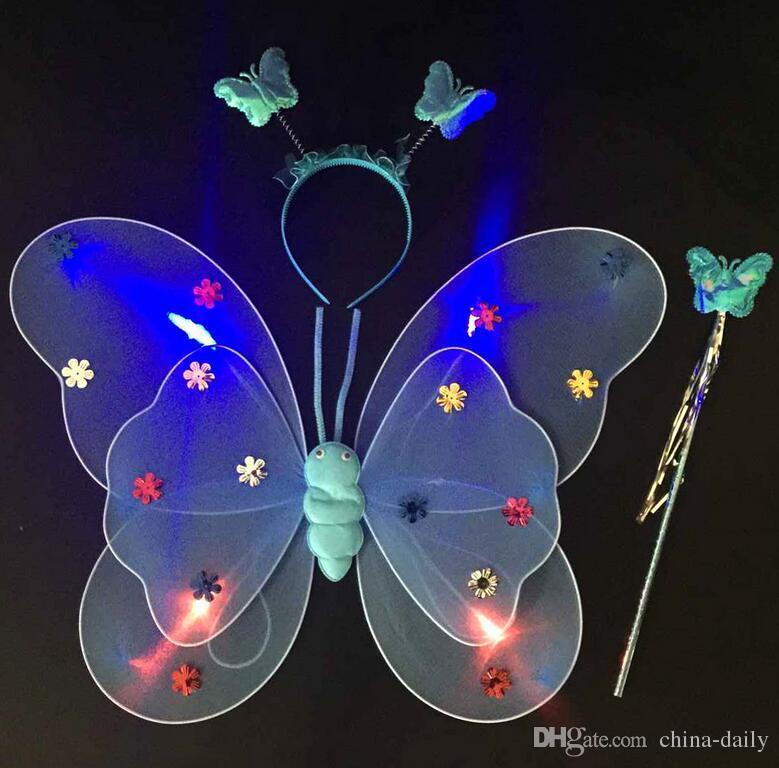 Free EMS LED Flash Glow Deux couches Fairy Wings set aile, bandeau, baguette aile de papillon avec lumière KTV Disco Kids Christmas Gift