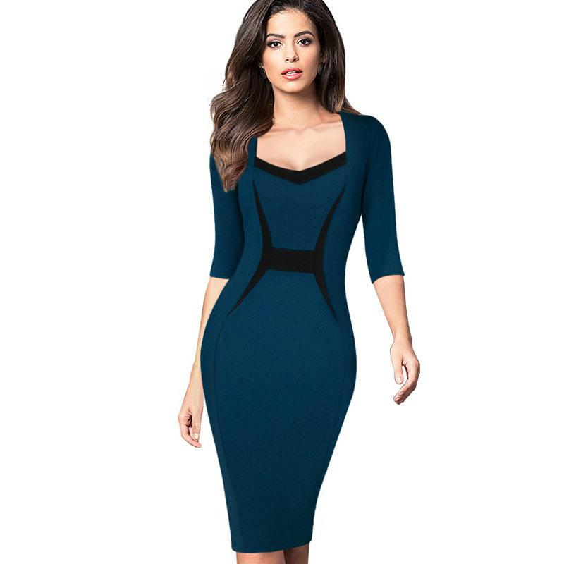 6befa7b344a 2019 New Fashion Womens Mature Elegant Casual Work Patchwork 3 4 Sleeve  Square Neck Bodycon Women Office Wear To Work Pencil Dress From  Weichaoliang