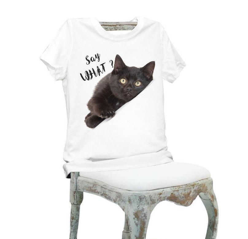 fc727309703 Women Lady Girl Say What Black Cat Print Beauty T-shirt Funny T ...