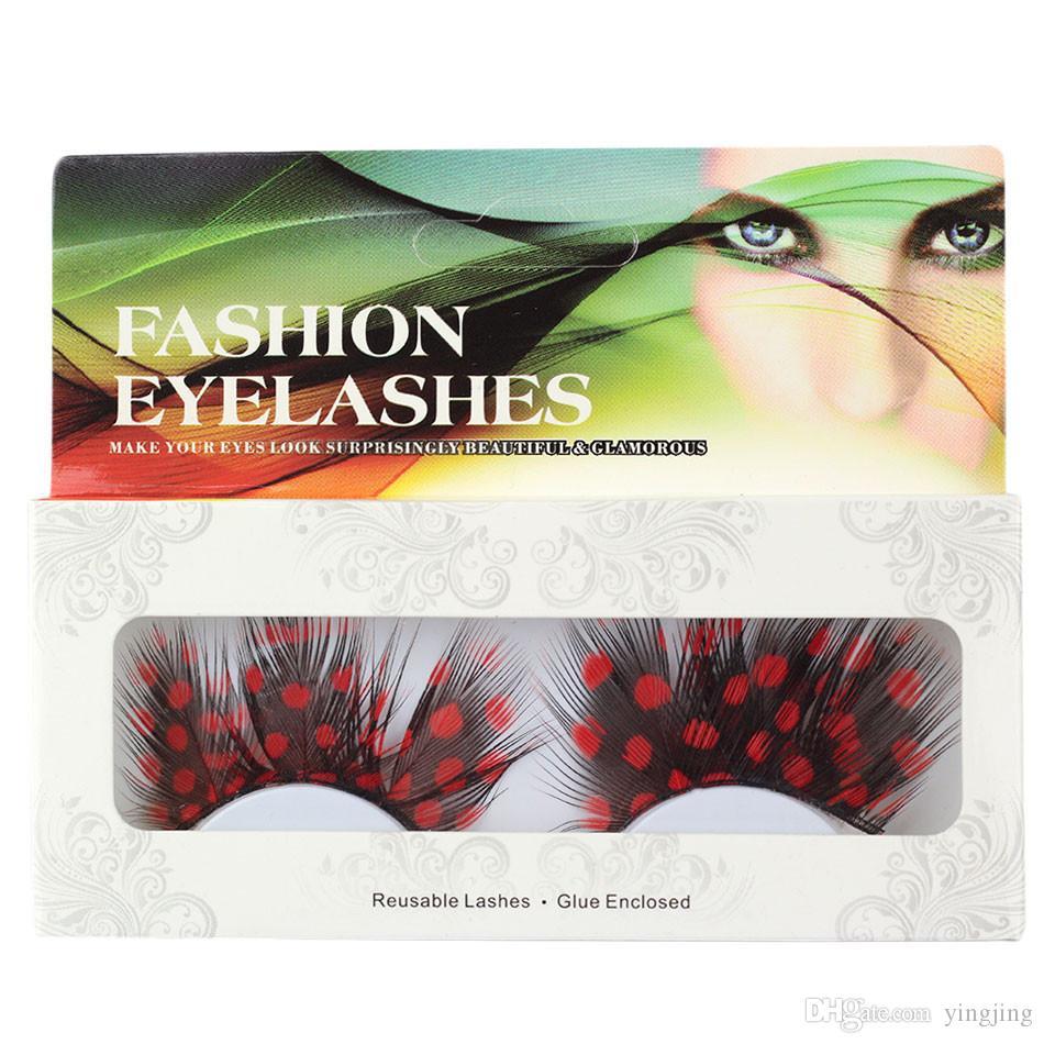 Fashion 6 Style Halloween Makeup Feather Fake Eyelashes Black Feather Red Point False Eyelash Party Tools