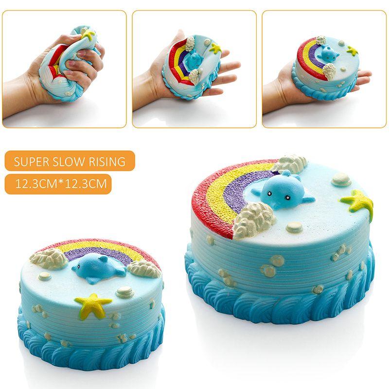 2017 New Arrival Jumbo 12CM Squishy Bread with fragrant Blue Ocean Cake Kawaii Cute Charm Slow Rising Bread Bun Kid Toy Gift Fun