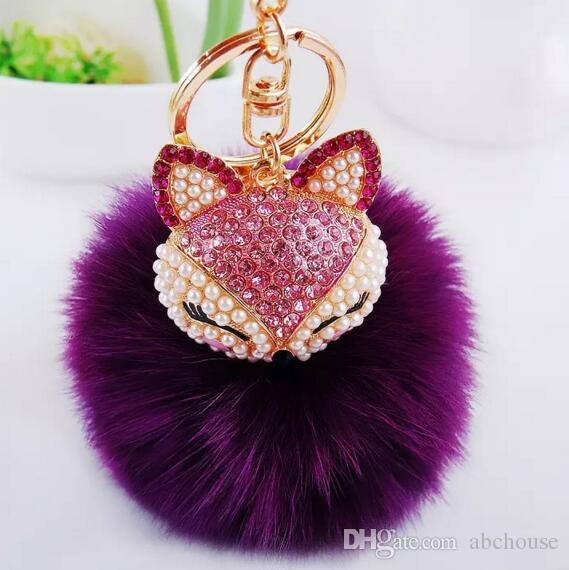 Cute Bling Rhinestone Fox Real Rabbit Fur Ball Fluffy Keychain Car Key  Chain Ring Pendant For Bag Charm Batman Keychain Fur Keychain From  Abchouse 0d8ef590a814d