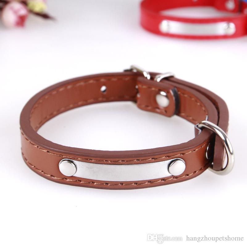 2017 Hot Sale Pet Collars High Quality PU Leather Dog Collars Fashion Bright Metal Dog Cat Use Cute Adjustable