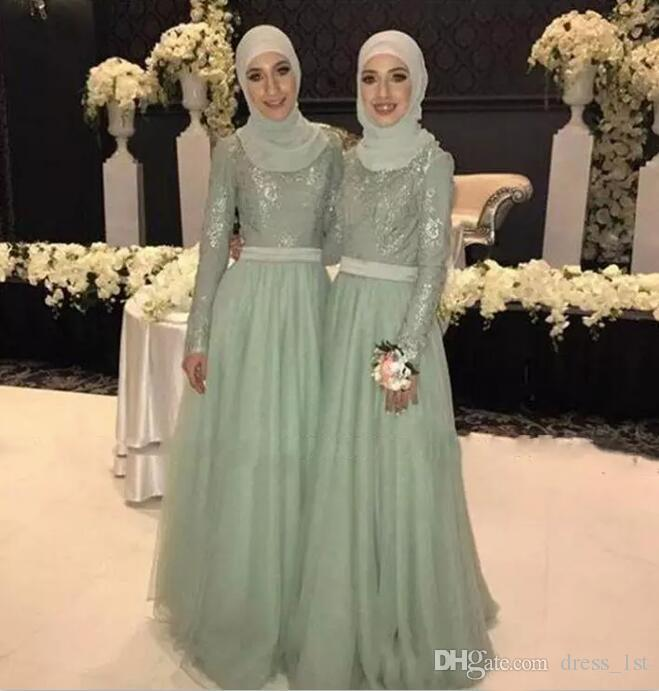Elegant 2019 Muslim Bridesmaid Dresses Modest Jewel Neck Long Sleeves Green Lace And Tulle Arabic Dresses for Wedding Maid Of Honor Dresses