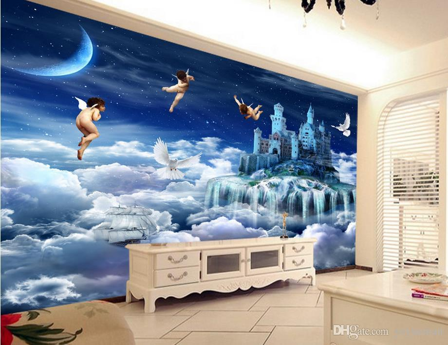 Custom Wallpaper Walls 3d Stereoscopic Wallpaper Angel Heaven Background  Living Room Bathroom 3d Wall Murals Wallpaper Free High Res Wallpapers Free  High ...