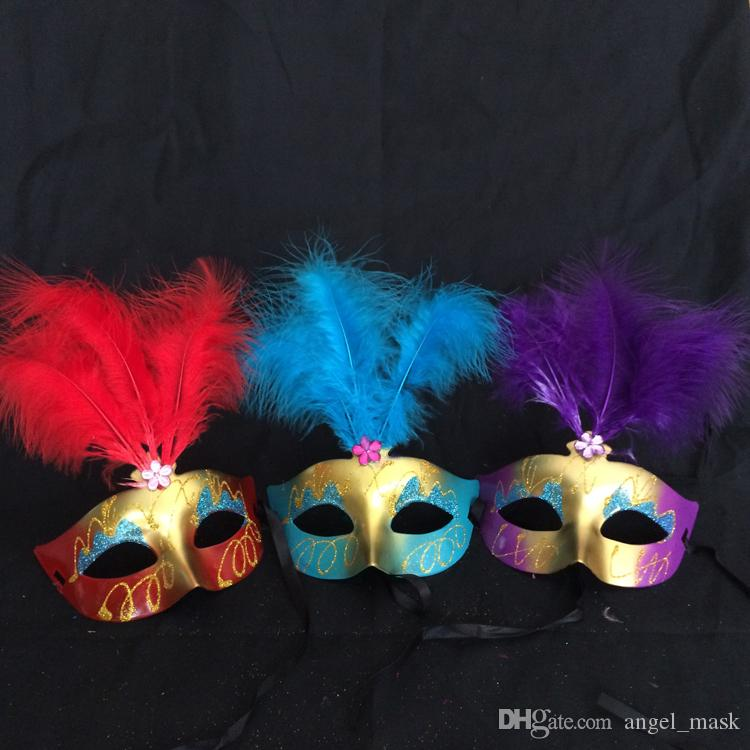 Women's Feather Flash Glitter Mask Venetian Mardi Gras Costume Accessory New Prop Halloween Party Costume Decorations Multi-color Optional