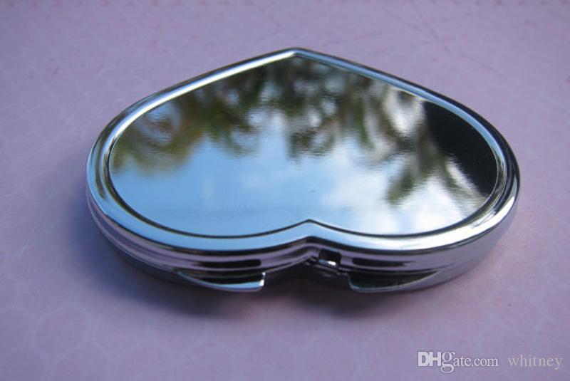 Espejos compactos de corazón espejo de lupa espejo en blanco pequeño espejo con etiquetas engomadas de resina epoxi set DIY # M0838 envío gratis
