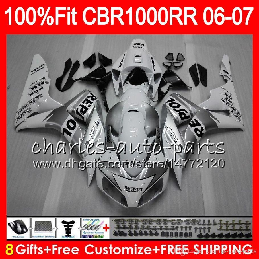 Injection Body For HONDA CBR 1000RR CBR1000 RR 06 07 Bodywork Repsol white 78HM13 CBR1000RR 06 07 CBR 1000 RR 2006 2007 Fairing kit 100% Fit