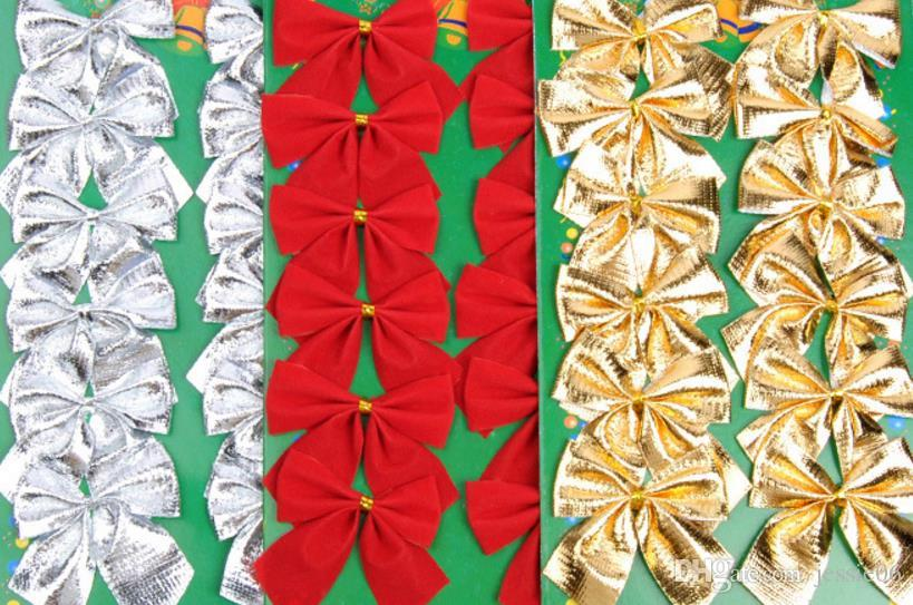 Noel Baubles Yay Dekorasyon Asılı Süs Ağacı Çelenk Garland Sepet Ön bağlı Kadife Şerit Bow parti dekor hediye 6 cm altın gümüş kırmızı
