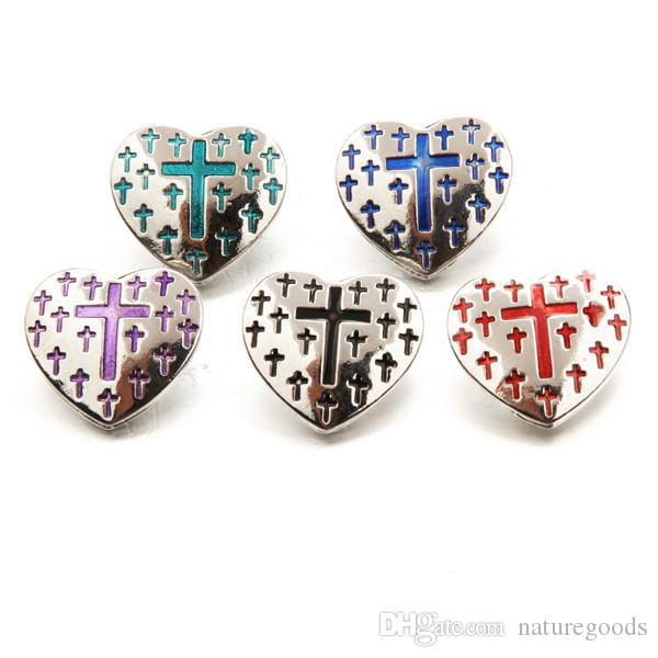 10 PC 2017 cross charm jewelry, snap button, suitable for 18 mm snap button jewelry, natural charm