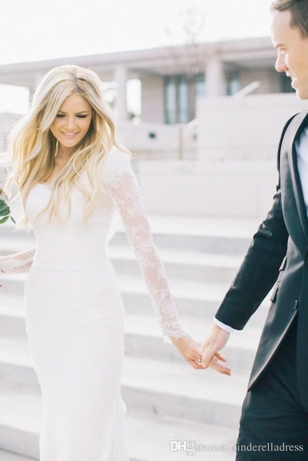 Custom Made País estilo boémio do Hippie vestidos de casamento Lace 2020 V Neck mangas compridas Plus Size Custom Made Lace Sheer vestidos de noiva Boho