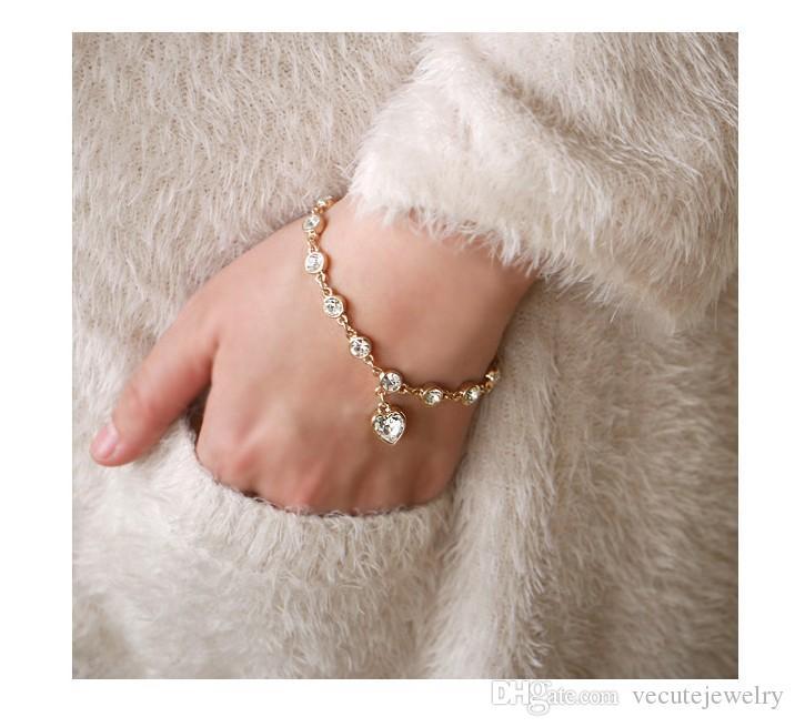 Nuevo 18K chapado en oro blanco de cristal austríaco del amor del corazón pulsera del encanto para mujer hecha con Swarovski Elements joyería de la salud precio al por mayor