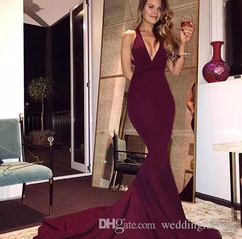 Sencillos y elegantes vestidos de fiesta de color borgoña 2019 Sirena sin espalda sexy Vestidos de fiesta largos sin mangas Criss Cross Back Vestidos de noche Ropa formal