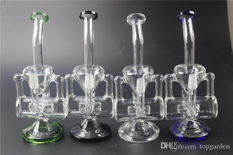 Doppel Recycler Glas Wasserpfeife bong 20cm Größe mit 14,5 mm gemeinsame berauschende Bongs Ölplattformen Dab Rig mit Schüssel Kuppel