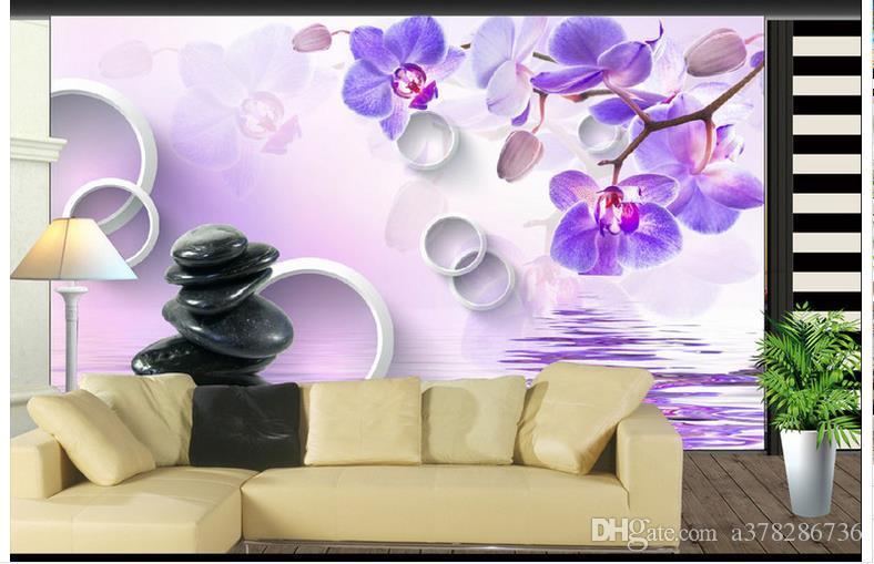 3D photo fond d'écran personnalisé murales papier peint papier peint 3d Salon 3D papillon orchidée caillou TV peinture papier peint chambre décoration murale