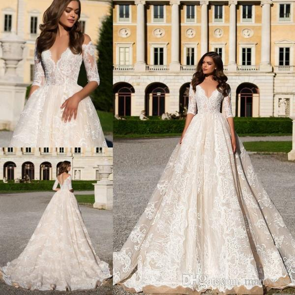 Lace Ball Gown Wedding Dresses 2017 Milla Nova Sheer Plunging