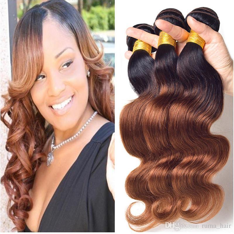 2018 Dark Brown Ombre Brazilian Hair Weave Bundles Brazilian Virgin