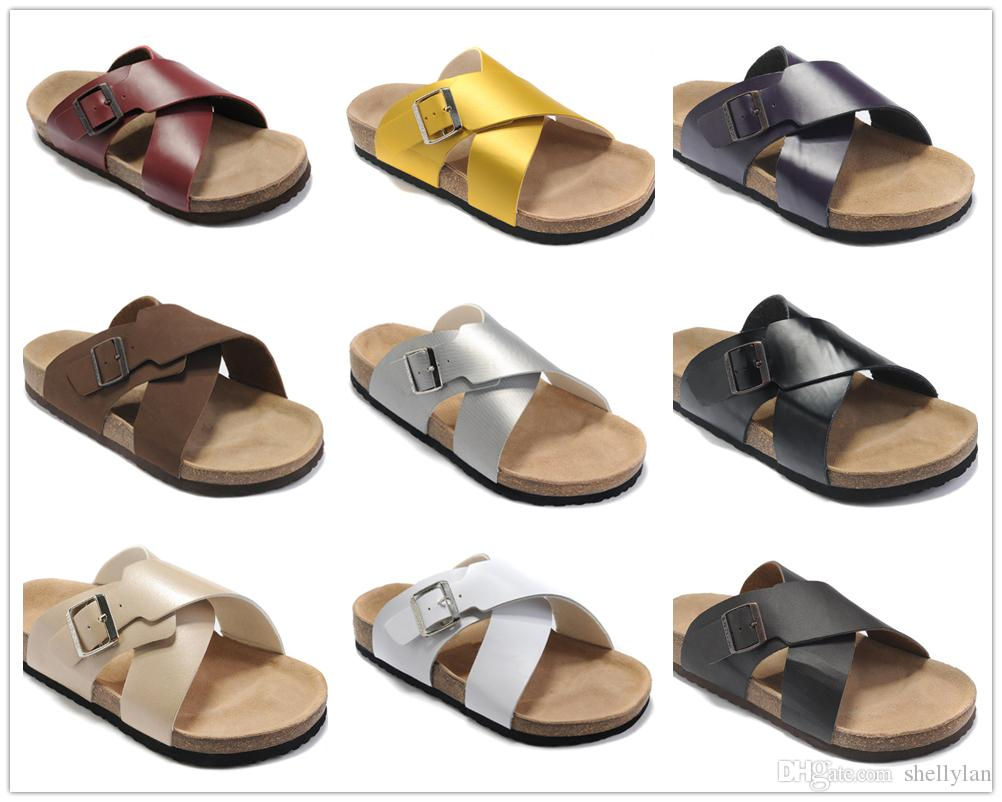 db1b127d064 Famous Brand Arizona Men Women Flat Heel X Style Sandals Buckle Summer  Outdoor Casual Ventilation Comfortable Genuine Leather Slippers Jelly  Sandals ...