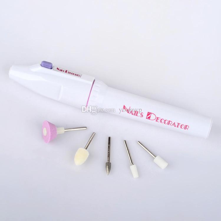 Profesyonel Elektrikli Manikür Nail Art Dosya Matkap, Sanat Salon Manikür Kalem Aracı, 5 bit / Set Lehçe Ayak Bakım Ürünü J1718
